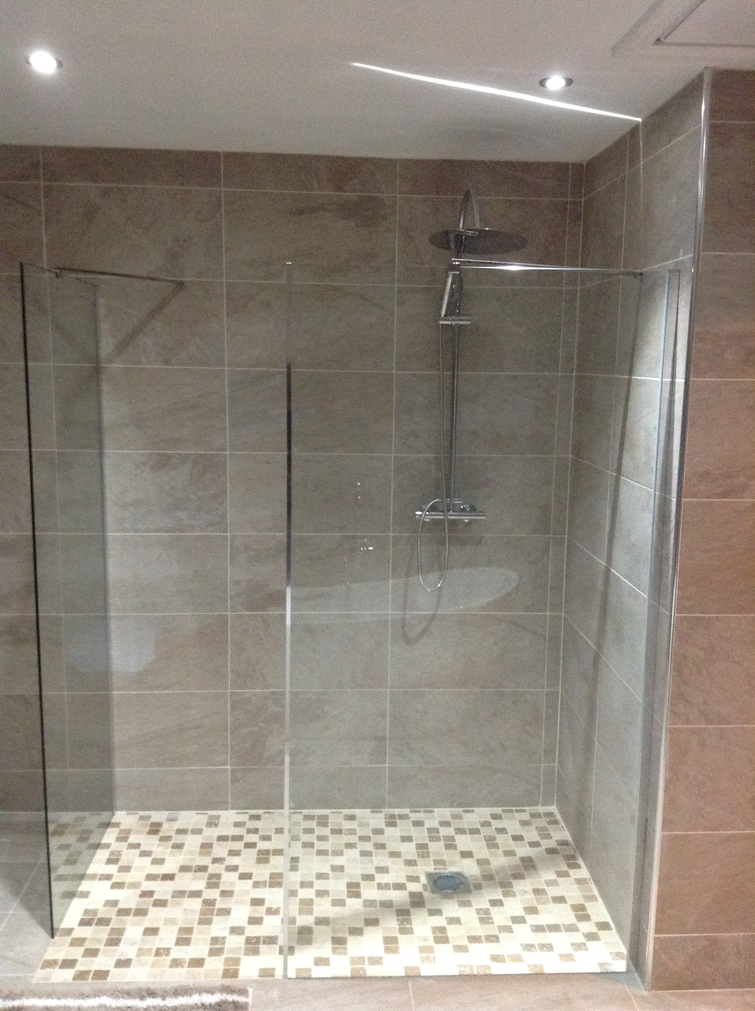 rain shower mosaic tiles and panel feature